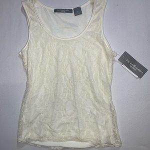Off-white lace tank top